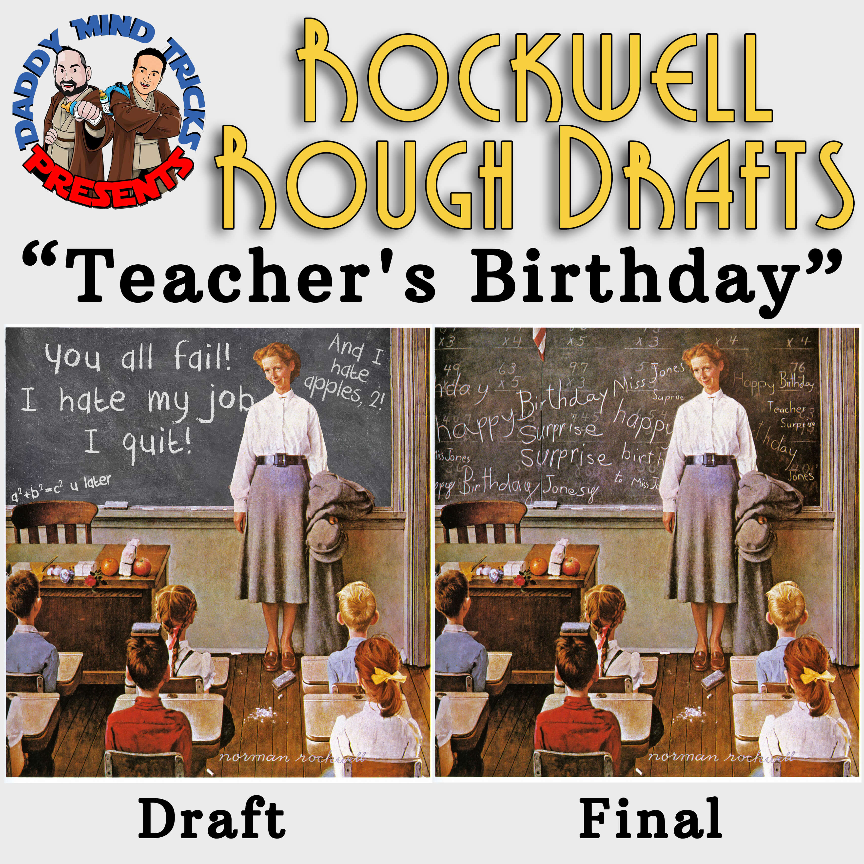 teacher's birthday rockwell rough drafts